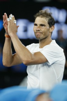 Rafael Nadal of Spain acknowledges the crowd after his fourth round match against Gael Monfils of France on day eight of the 2017 Australian Open at Melbourne Park on January 23, 2017 in Melbourne, Australia. (Jan. 22, 2017 - Source: Darrian Traynor/Getty Images AsiaPac)