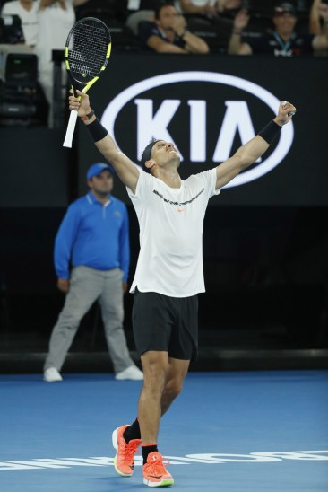 Rafael Nadal of Spain celebrates on match point in his fourth round match against Gael Monfils of France on day eight of the 2017 Australian Open at Melbourne Park on January 23, 2017 in Melbourne, Australia. (Jan. 22, 2017 - Source: Darrian Traynor/Getty Images AsiaPac)