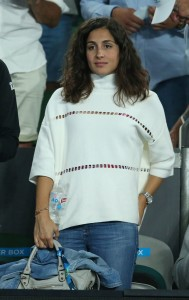 Xisca Perello, girlfriend of Rafael Nadal of Spain watches him play in his second round match against Marcos Baghdatis of Cyprus on day four of the 2017 Australian Open at Melbourne Park on January 19, 2017 in Melbourne, Australia. (Jan. 18, 2017 - Source: Scott Barbour/Getty Images AsiaPac)