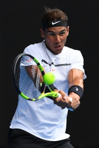 MELBOURNE, AUSTRALIA - JANUARY 17:  Rafael Nadal of Spain plays a backhand in his first round match against Florian Mayer of Germany on day two of the 2017 Australian Open at Melbourne Park on January 17, 2017 in Melbourne, Australia.  (Photo by Quinn Rooney/Getty Images)