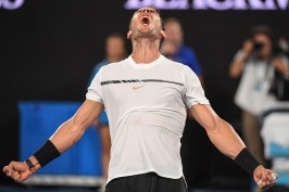 Spain's Rafael Nadal celebrates his victory against France's Gael Monfils during their men's singles fourth round match on day eight of the Australian Open tennis tournament in Melbourne on January 23, 2017. / AFP / SAEED KHAN / IMAGE RESTRICTED TO EDITORIAL USE - STRICTLY NO COMMERCIAL USE (Jan. 22, 2017 - Source: AFP)