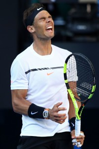 Rafael Nadal of Spain reacts in his third round match against Alexander Zverev of Germany on day six of the 2017 Australian Open at Melbourne Park on January 21, 2017 in Melbourne, Australia. (Jan. 20, 2017 - Source: Cameron Spencer/Getty Images AsiaPac)