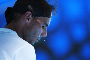 MELBOURNE, AUSTRALIA - JANUARY 17:  Sweat drips off the nose of Rafael Nadal of Spain in his first round match against Florian Mayer of Germany on day two of the 2017 Australian Open at Melbourne Park on January 17, 2017 in Melbourne, Australia.  (Photo by Quinn Rooney/Getty Images)