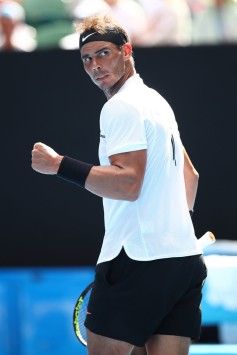 Rafael Nadal of Spain celebrates a point in his first round match against Florian Mayer of Germany on day two of the 2017 Australian Open at Melbourne Park on January 17, 2017 in Melbourne, Australia. (Jan. 16, 2017 - Source: Cameron Spencer/Getty Images AsiaPac)