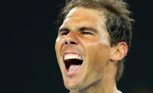 Rafael Nadal of Spain celebrates winning match point in his quarterfinal match against Milos Raonic of Canada on day 10 of the 2017 Australian Open at Melbourne Park on January 25, 2017 in Melbourne, Australia. (Jan. 24, 2017 - Source: Scott Barbour/Getty Images AsiaPac)