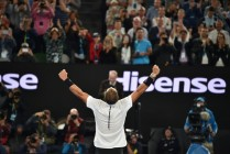 Spain's Rafael Nadal celebrates beating Canada's Milos Raonic in their men's singles quarter-final match on day ten of the Australian Open tennis tournament in Melbourne on January 25, 2017. / AFP / PETER PARKS / IMAGE RESTRICTED TO EDITORIAL USE - STRICTLY NO COMMERCIAL USE (Jan. 24, 2017 - Source: AFP)