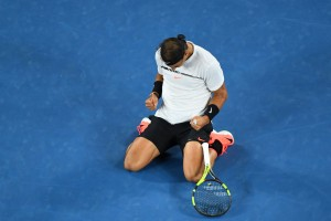 Rafael Nadal of Spain celebrates winning match point in his quarterfinal match against Milos Raonic of Canada on day 10 of the 2017 Australian Open at Melbourne Park on January 25, 2017 in Melbourne, Australia. (Jan. 24, 2017 - Source: Quinn Rooney/Getty Images AsiaPac)