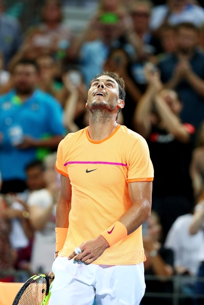 BRISBANE, AUSTRALIA - JANUARY 05: Rafael Nadal of Spain celebrates winning his quarter final match against Mischa Zverev of Germany during day five of the 2017 Brisbane International at Pat Rafter Arena on January 5, 2017 in Brisbane, Australia. (Photo by Chris Hyde/Getty Images)