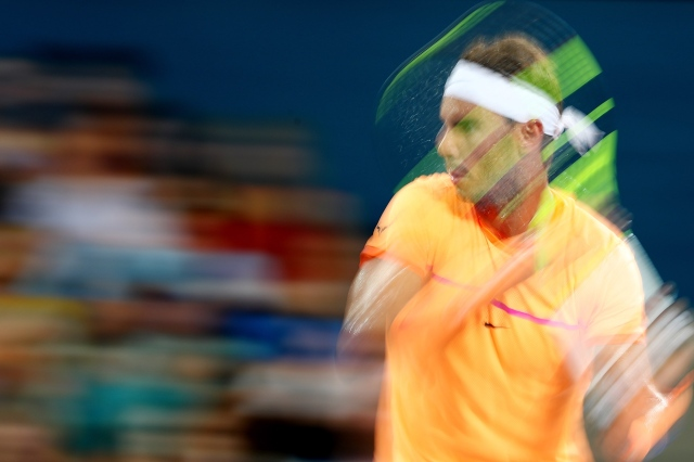 BRISBANE, AUSTRALIA - JANUARY 05: Rafael Nadal of Spain plays a forehand during his quarter final match against Mischa Zverev of Germany during day five of the 2017 Brisbane International at Pat Rafter Arena on January 5, 2017 in Brisbane, Australia. (Photo by Chris Hyde/Getty Images)