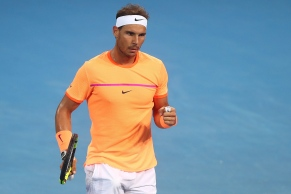 BRISBANE, AUSTRALIA - JANUARY 05: Rafael Nadal of Spain celebrates a point during his quarter final match against Mischa Zverev of Germany during day five of the 2017 Brisbane International at Pat Rafter Arena on January 5, 2017 in Brisbane, Australia. (Photo by Chris Hyde/Getty Images)