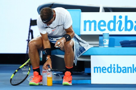 Rafael Nadal of Spain arranges his drink bottles in his fourth round match against Gael Monfils of France on day eight of the 2017 Australian Open at Melbourne Park on January 23, 2017 in Melbourne, Australia. (Jan. 22, 2017 - Source: Cameron Spencer/Getty Images AsiaPac)