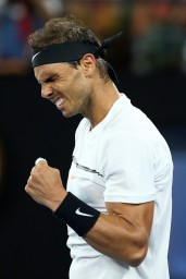 Rafael Nadal of Spain celebrates match point in his fourth round match against Gael Monfils of France on day eight of the 2017 Australian Open at Melbourne Park on January 23, 2017 in Melbourne, Australia. (Jan. 22, 2017 - Source: Cameron Spencer/Getty Images AsiaPac)