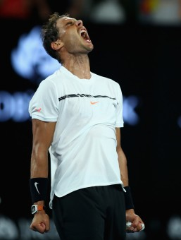 Rafael Nadal of Spain celebrates victory to the crowd in his fourth round match against Gael Monfils of France on day eight of the 2017 Australian Open at Melbourne Park on January 23, 2017 in Melbourne, Australia. (Jan. 22, 2017 - Source: Clive Brunskill/Getty Images AsiaPac)