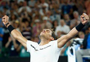 Tennis - Australian Open - Melbourne Park, Melbourne, Australia - 23/1/17 Spain's Rafael Nadal celebrates winning his Men's singles fourth round match against France's Gael Monfils. REUTERS/Thomas Peter