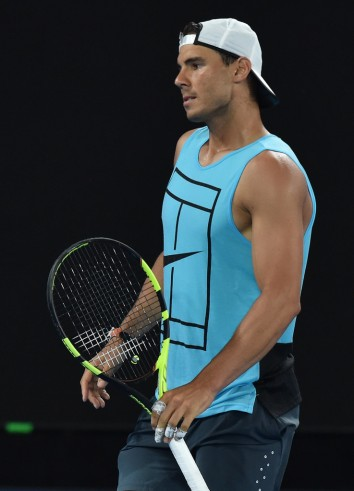 Rafael Nadal during a practice session ahead of the Australian Open tennis tournament in Melbourne on January 13, 2017. / AFP / PAUL CROCK