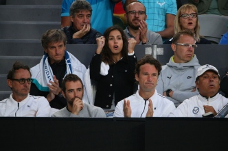MELBOURNE, AUSTRALIA - JANUARY 25: The team of Rafael Nadal of Spain watch his quarterfinal match against Milos Raonic of Canada on day 10 of the 2017 Australian Open at Melbourne Park on January 25, 2017 in Melbourne, Australia. (Photo by Michael Dodge/Getty Images)