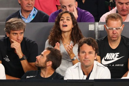 Xisca Perello watches the semi final match between Rafael Nadal of Spain and Grigor Dimitrov of Bulgaria on day 12 of the 2017 Australian Open at Melbourne Park on January 27, 2017 in Melbourne, Australia. (Jan. 26, 2017 - Source: Scott Barbour/Getty Images AsiaPac)