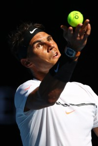 Rafael Nadal of Spain serves in his third round match against Alexander Zverev of Germany on day six of the 2017 Australian Open at Melbourne Park on January 21, 2017 in Melbourne, Australia. (Jan. 20, 2017 - Source: Clive Brunskill/Getty Images AsiaPac)