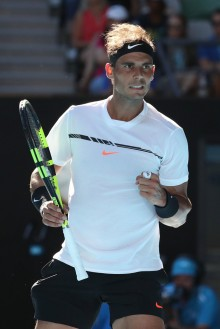 Rafael Nadal of Spain celebrates in his third round match against Alexander Zverev of Germany on day six of the 2017 Australian Open at Melbourne Park on January 21, 2017 in Melbourne, Australia. (Jan. 20, 2017 - Source: Scott Barbour/Getty Images AsiaPac)