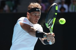 Rafael Nadal of Spain plays a backhand in his third round match against Alexander Zverev of Germany on day six of the 2017 Australian Open at Melbourne Park on January 21, 2017 in Melbourne, Australia. (Jan. 20, 2017 - Source: Scott Barbour/Getty Images AsiaPac)