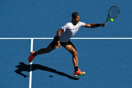 Rafael Nadal of Spain plays a forehand in his third round match against Alexander Zverev of Germany on day six of the 2017 Australian Open at Melbourne Park on January 21, 2017 in Melbourne, Australia. (Jan. 20, 2017 - Source: Quinn Rooney/Getty Images AsiaPac)