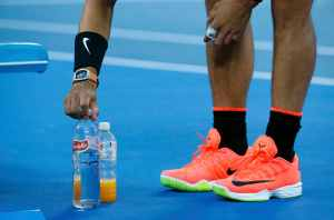 Tennis - Australian Open - Melbourne Park, Melbourne, Australia - 25/1/17 Spain's Rafael Nadal places his water bottles during his Men's singles quarter-final match against Canada's Milos Raonic. REUTERS/Edgar Su