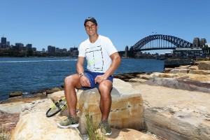 Rafael Nadal poses for the media ahead of the Fast4International Exhibition this evening at the ICC Sydney Theatre on January 9, 2017 in Sydney, Australia. (Jan. 8, 2017 - Source: Jason McCawley/Getty Images AsiaPac)