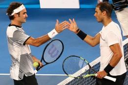 Tennis - Australian Open - Melbourne Park, Melbourne, Australia - 29/1/17 Switzerland's Roger Federer shakes hands after winning his Men's singles final match against Spain's Rafael Nadal. REUTERS/David Gray
