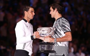 Rafael Nadal of Spain congratulates Roger Federer of Switzerland on winning their Men's Final as Roger Federer holds the Norman Brookes Challenge Cup match on day 14 of the 2017 Australian Open at Melbourne Park on January 29, 2017 in Melbourne, Australia. (Jan. 28, 2017 - Source: Scott Barbour/Getty Images AsiaPac)