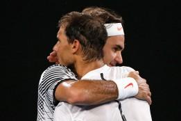 Tennis - Australian Open - Melbourne Park, Melbourne, Australia - 29/1/17 Switzerland's Roger Federer embraces after winning his Men's singles final match against Spain's Rafael Nadal. REUTERS/Issei Kato