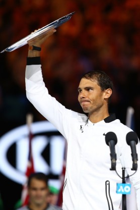 Rafael Nadal of Spain thanks the crowd afterthe Men's Final match against Roger Federer of Switzerland on day 14 of the 2017 Australian Open at Melbourne Park on January 29, 2017 in Melbourne, Australia. (Jan. 28, 2017 - Source: Clive Brunskill/Getty Images AsiaPac)