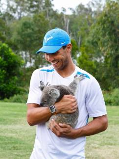 Rafael Nadal is making his debut appearance at the Brisbane International, and was fittingly welcomed by Dian, the koala. (Photos: Tennis Photo Network)