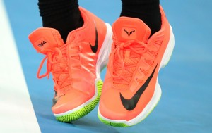 A detail of the shows of Rafael Nadal of Spain as he serves in his quarterfinal match against Milos Raonic of Canada on day 10 of the 2017 Australian Open at Melbourne Park on January 25, 2017 in Melbourne, Australia. (Jan. 24, 2017 - Source: Scott Barbour/Getty Images AsiaPac)