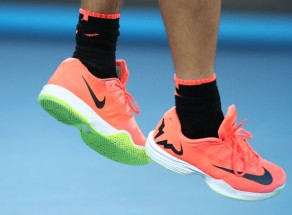 A detail of the shoes of Rafael Nadal of Spain as he serves during his second round match against Marcos Baghdatis of Cyprus on day four of the 2017 Australian Open at Melbourne Park on January 19, 2017 in Melbourne, Australia. (Jan. 18, 2017 - Source: Scott Barbour/Getty Images AsiaPac)