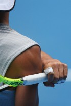 Rafael Nadal during a practice session ahead of the 2017 Australian Open at Melbourne Park on January 11, 2017 in Melbourne, Australia. (Michael Dodge/Getty Images)