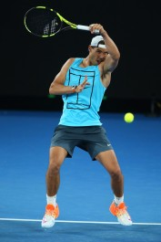 Rafael Nadal during a practice session ahead of the 2017 Australian Open at Melbourne Park on January 13, 2017 in Melbourne, Australia. (Michael Dodge/Getty Images