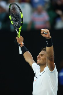 Rafael Nadal of Spain celebrates winning his third round match against Alexander Zverev of Germany on day six of the 2017 Australian Open at Melbourne Park on January 21, 2017 in Melbourne, Australia. (Jan. 20, 2017 - Source: Clive Brunskill/Getty Images AsiaPac)