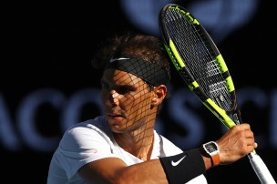 Rafael Nadal of Spain plays a forehand in his third round match against Alexander Zverev of Germany on day six of the 2017 Australian Open at Melbourne Park on January 21, 2017 in Melbourne, Australia. (Jan. 20, 2017 - Source: Clive Brunskill/Getty Images AsiaPac)