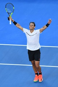 Rafael Nadal of Spain celebrates winning his third round match against Alexander Zverev of Germany on day six of the 2017 Australian Open at Melbourne Park on January 21, 2017 in Melbourne, Australia. (Jan. 20, 2017 - Source: Quinn Rooney/Getty Images AsiaPac)