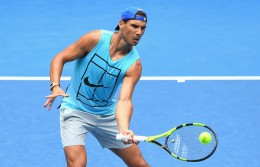 Rafael Nadal of Spain volleys during a practice session ahead of the 2017 Australian Open at Melbourne Park on January 14, 2017 in Melbourne, Australia. (Jan. 13, 2017 - Source: Quinn Rooney/Getty Images AsiaPac)