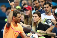 Rafael Nadal of Spain signs autographs after winning his quarter final match against Mischa Zverev of Germany during day five of the 2017 Brisbane International at Pat Rafter Arena on January 5, 2017 in Brisbane, Australia. (Jan. 4, 2017 - Source: Chris Hyde/Getty Images AsiaPac)