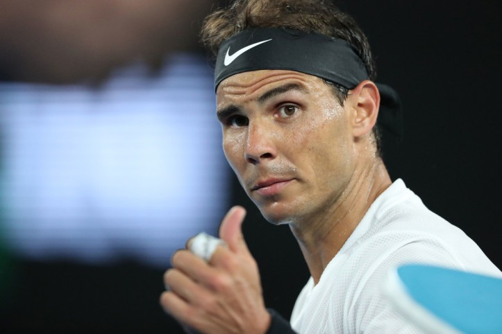 Rafael Nadal of Spain looks on in his second round match against Marcos Baghdatis of Cyprus on day four of the 2017 Australian Open at Melbourne Park on January 19, 2017 in Melbourne, Australia. (Jan. 18, 2017 - Source: Scott Barbour/Getty Images AsiaPac)