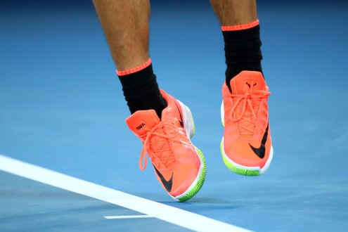 Rafael Nadal of Spain serves in his semifinal match against Grigor Dimitrov of Bulgaria on day 12 of the 2017 Australian Open at Melbourne Park on January 27, 2017 in Melbourne, Australia. (Jan. 26, 2017 - Source: Cameron Spencer/Getty Images AsiaPac)