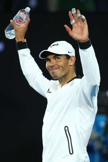 Rafael Nadal of Spain celebrates winning his semifinal match against Grigor Dimitrov of Bulgaria on day 12 of the 2017 Australian Open at Melbourne Park on January 27, 2017 in Melbourne, Australia. (Jan. 26, 2017 - Source: Cameron Spencer/Getty Images AsiaPac)