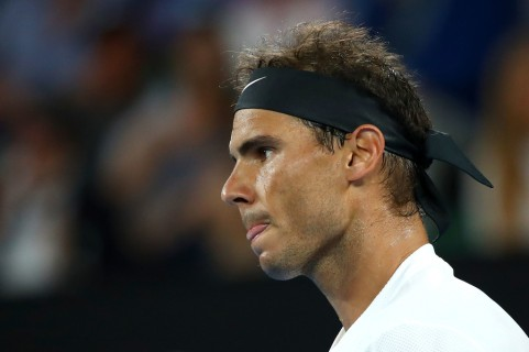 Rafael Nadal of Spain reacts in his semifinal match against Grigor Dimitrov of Bulgaria on day 12 of the 2017 Australian Open at Melbourne Park on January 27, 2017 in Melbourne, Australia. (Jan. 26, 2017 - Source: Cameron Spencer/Getty Images AsiaPac)