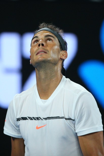 Rafael Nadal of Spain looks on in his semifinal match against Grigor Dimitrov of Bulgaria on day 12 of the 2017 Australian Open at Melbourne Park on January 27, 2017 in Melbourne, Australia. (Jan. 26, 2017 - Source: Michael Dodge/Getty Images AsiaPac)