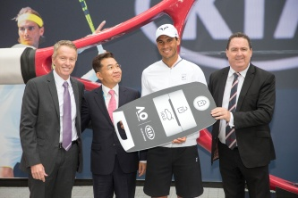Australian Open Tournament Director Craig Tiley, Kia Australia CEO and President SH Cho, Rafael Nadal and Kia Motors Australia Chief Operating Officer Damien Meridith at the Kia fleet handover, 15 January 2017. - Fiona Hamilton/Tennis Australia