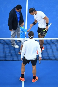 MELBOURNE, AUSTRALIA - JANUARY 29: Rafael Nadal of Spain and Roger Federer of Switzerland at the coin toss ahead of their Men's Final match on day 14 of the 2017 Australian Open at Melbourne Park on January 29, 2017 in Melbourne, Australia. (Photo by Quinn Rooney/Getty Images)