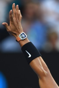Spain's Rafael Nadal prepares to serve against Switzerland's Roger Federer during their men's singles final match on day 14 of the Australian Open tennis tournament in Melbourne on January 29, 2017. / AFP / PAUL CROCK