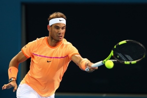 BRISBANE, AUSTRALIA - JANUARY 03: Rafael Nadal of Spain plays a forehand in his match against Alexandr Dolgopolov of Ukraine on day three of the 2017 Brisbane International at Pat Rafter Arena on January 3, 2017 in Brisbane, Australia. (Photo by Chris Hyde/Getty Images)